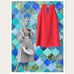 Parker Coral/Pink Mixed Material Shift Dress